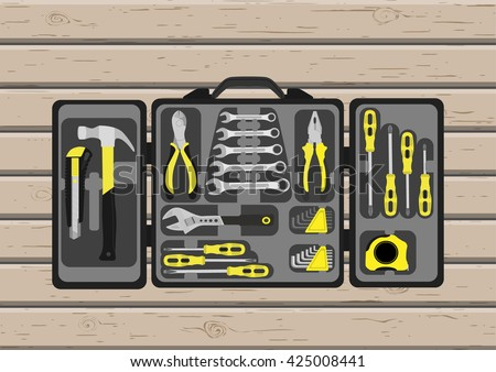 Tools set. Wooden wall. Tool-box. Flat images. Vector image. - stock vector