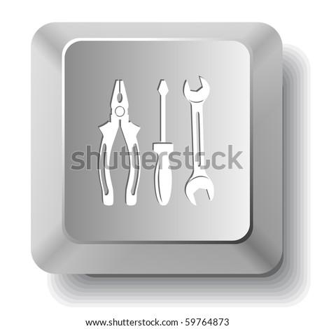 Tools. Vector computer key. - stock vector