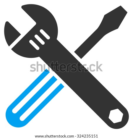 Tools vector icon. Style is bicolor flat symbol, blue and gray colors, rounded angles, white background.