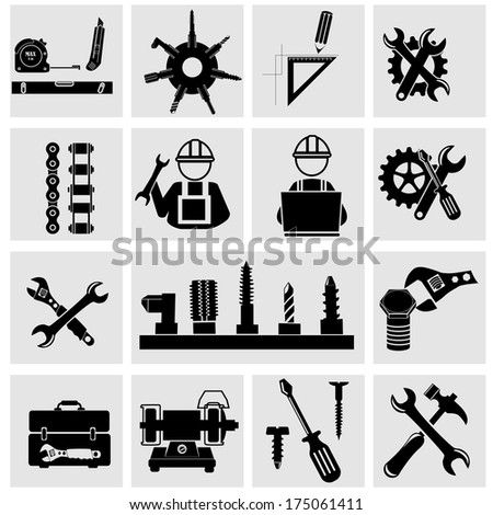 Tools vector icons set on gray - stock vector