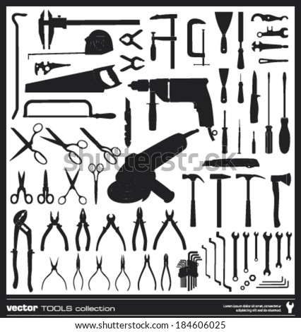 Tools vector silhouettes collection. Hand tool types.