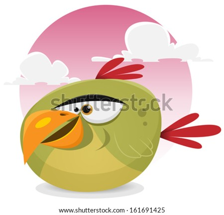 Toon Exotic Bird/ Illustration of a funny tiny cartoon tropical parrot bird character smiling on a pink sky background - stock vector