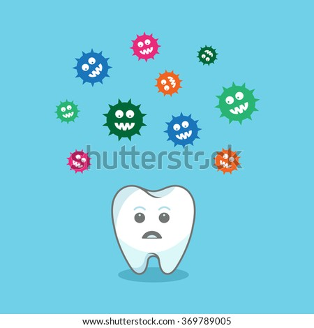 Tooth and colorful bacteria attacking it. Vector illustration  - stock vector