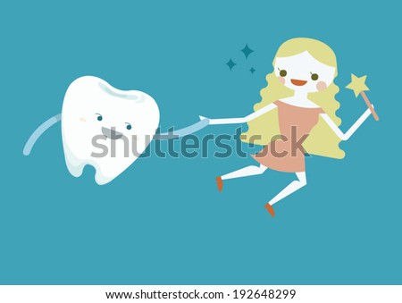Tooth and fairy girl - stock vector