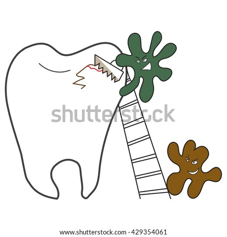 tooth and micro-organisms of dental caries with a saw - stock vector