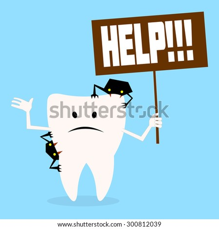 tooth asks for help.vector illustration - stock vector