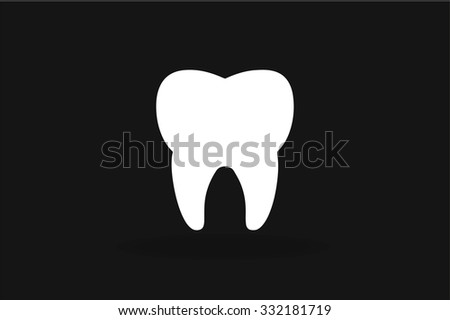 Tooth black and white Icon vector silhouette. Health, medical or doctor and dentist office symbols. Oral care, dental, dentist office, tooth health, tooth care, clinic. Tooth logo. Tooth icon. Tooth - stock vector