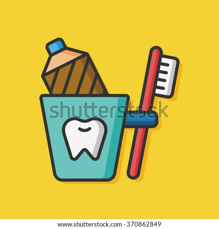 tooth brush and toothpaste icon - stock vector