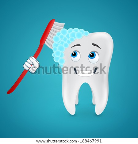 Tooth brush cleans itself on blue background