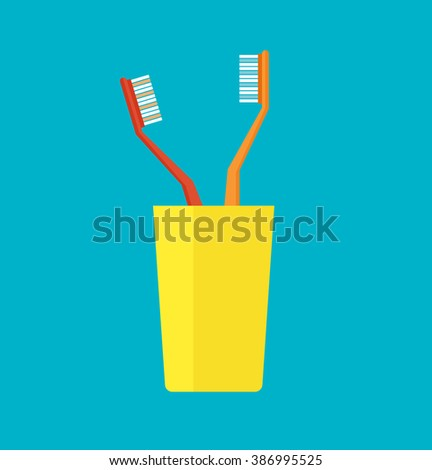Tooth brush vector. Teeth and Tooth brush modern vector illustration.Flat design modern vector of tooth brush in a yellow cup. Isolated toothbrushes. Healthcare vector with tooth brushes. - stock vector