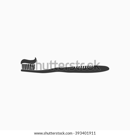Tooth brush wish toothpaste icon in flat style isolated on gray background. Toothbrush icon Vector Illustration