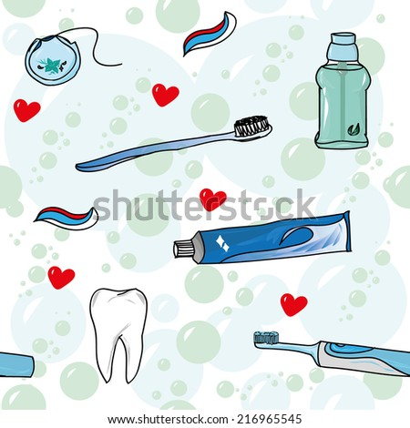 Tooth care with love seamless vector pattern - stock vector