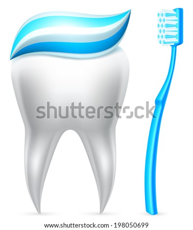 Tooth covered with toothpaste and blue toothbrush. - stock vector