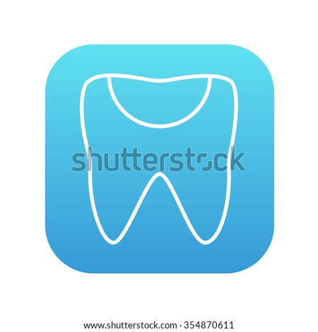 Tooth decay line icon for web, mobile and infographics. Vector white icon on the blue gradient square with rounded corners isolated on white background. - stock vector