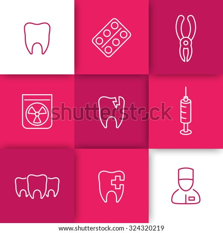 Tooth, dental care, dental pliers, dentist, tooth cavity, line icons on squares, vector illustration - stock vector