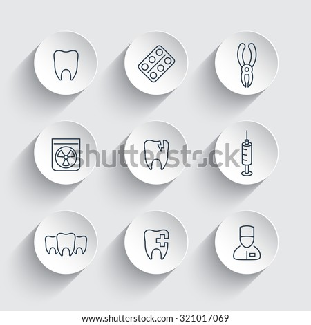 Tooth, dental care, dental pliers, dentist, tooth cavity, line round icons, vector illustration - stock vector