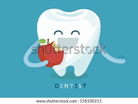 Tooth eating apple  - stock vector