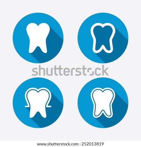 Tooth enamel protection icons. Dental care signs. Healthy teeth symbols. Circle concept web buttons. Vector - stock vector