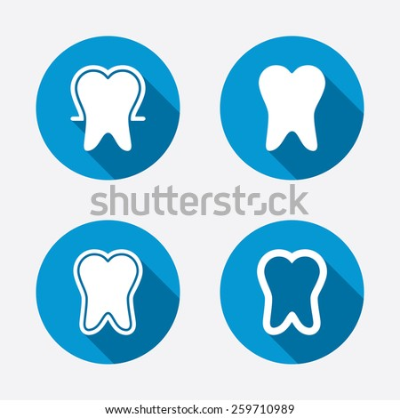 Tooth enamel protection icons. Dental toothpaste care signs. Healthy teeth sign. Circle concept web buttons. Vector - stock vector
