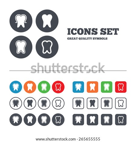 Tooth enamel protection icons. Dental toothpaste care signs. Healthy teeth sign. Web buttons set. Circles and squares templates. Vector - stock vector