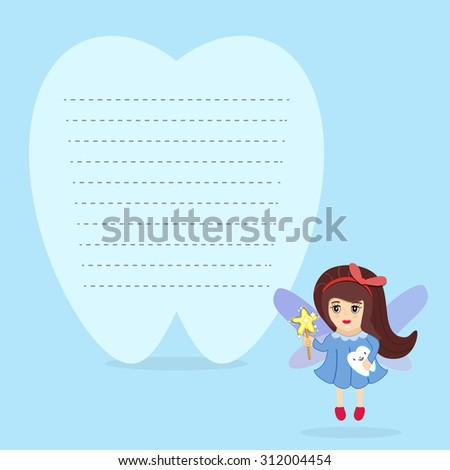 Tooth fairy holding tooth standing beside stock vector 2018 tooth fairy holding a tooth and standing beside a tooth shaped blank note template design colourmoves