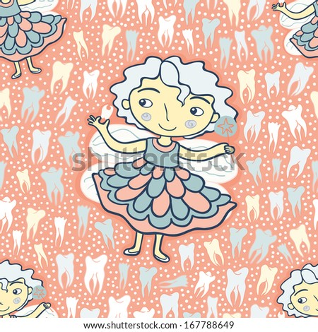tooth fairy pink seamless pattern