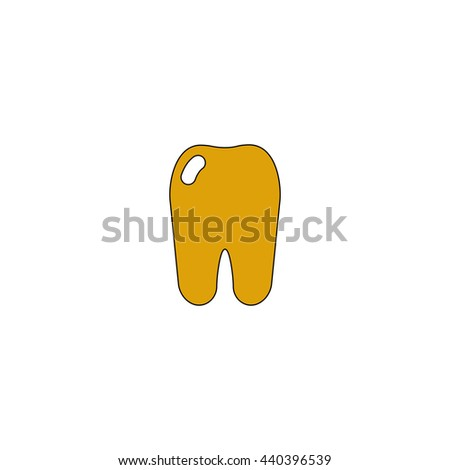 Tooth Flat yellow thin line symbol on white background. Vector icon - stock vector