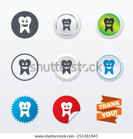 Tooth happy face sign icon. Dental care symbol. Healthy teeth. Circle concept buttons. Metal edging. Star and label sticker. Vector - stock vector