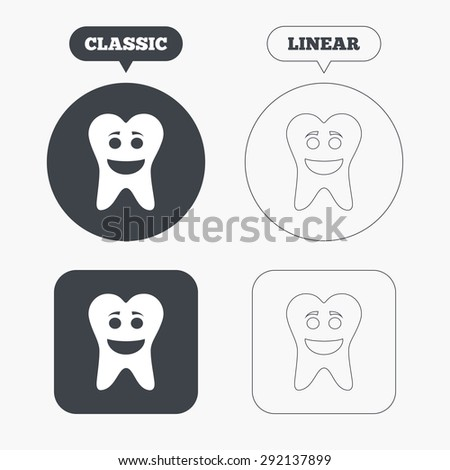 Tooth happy face sign icon. Dental care symbol. Healthy teeth. Classic and line web buttons. Circles and squares. Vector - stock vector
