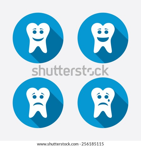 Tooth happy, sad and crying faces icons. Dental care signs. Healthy or unhealthy teeth symbols. Circle concept web buttons. Vector - stock vector