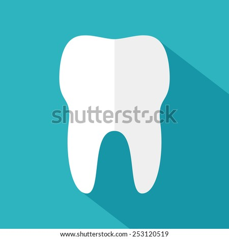 Tooth icon in flat style. Vector illustration - stock vector