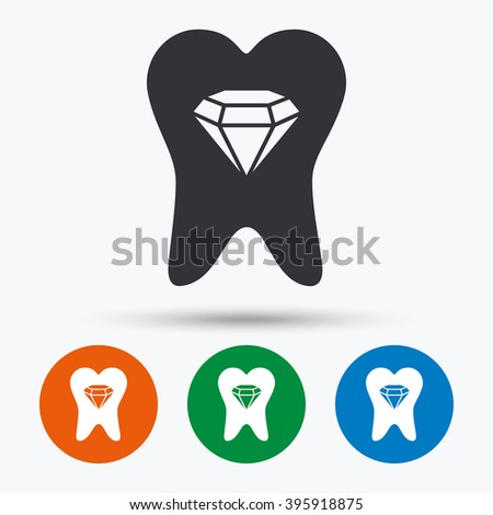 Tooth icon. Tooth flat symbol. Tooth art illustration. Tooth flat sign. Tooth graphic icon. Flat icons in circles. Round buttons for web. - stock vector