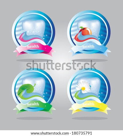 tooth icons with chamomile, mint and apple - stock vector