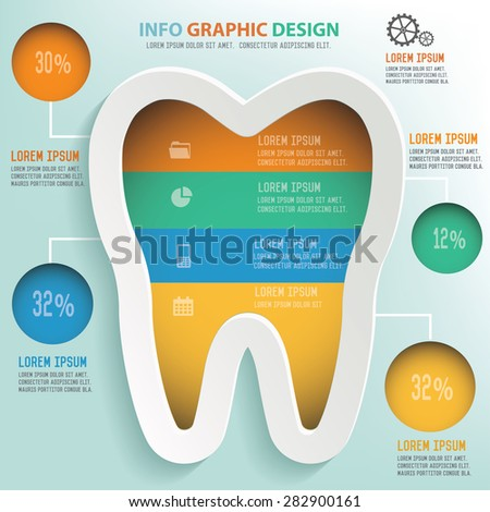 Tooth info graphic design, Business concept design. Clean vector. - stock vector