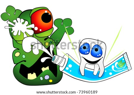 Tooth is against germ of caries - stock vector