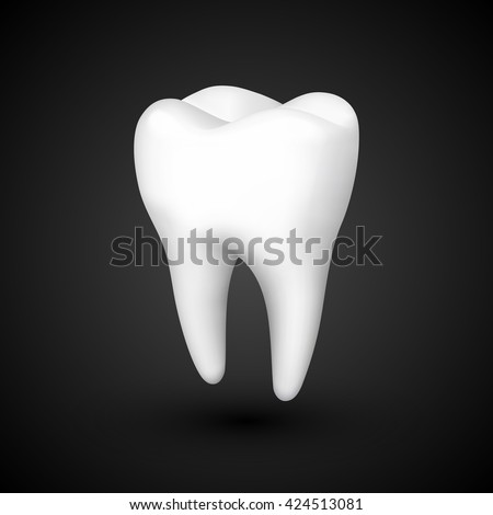 tooth on a black background, template design element, Vector illustration - stock vector