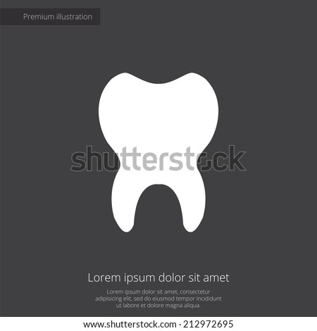 tooth premium illustration icon, isolated, white on dark background, with text elements  - stock vector