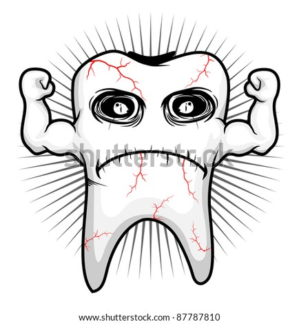 tooth sick strong character vector - stock vector