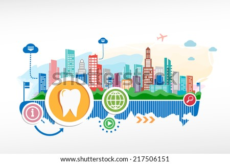 Tooth sign icon and cityscape background with different icon. Design for the print, advertising. - stock vector