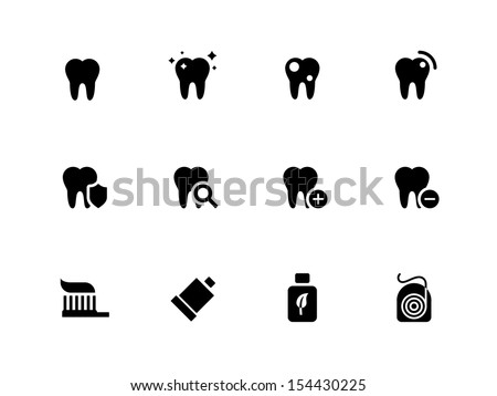 Tooth, teeth icons on white background. Vector illustration. - stock vector