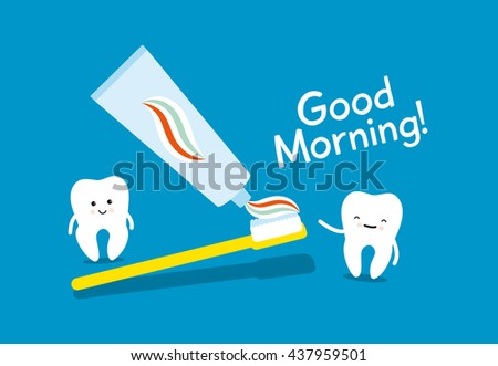 Tooth, toothbrush and toothpaste on blue background. Healthy teeth. Good morning - stock vector