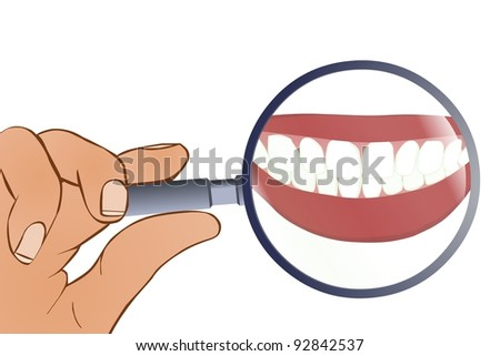Tooth Under Magnifying Glass - stock vector