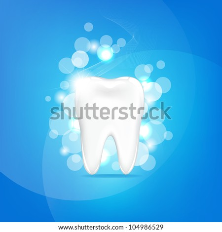Tooth With Blue Background And Bokeh, Vector Illustration - stock vector