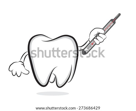 Tooth with mercury thermometer  - stock vector