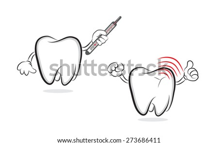 Tooth with mercury thermometer offering another one with inflammation - stock vector