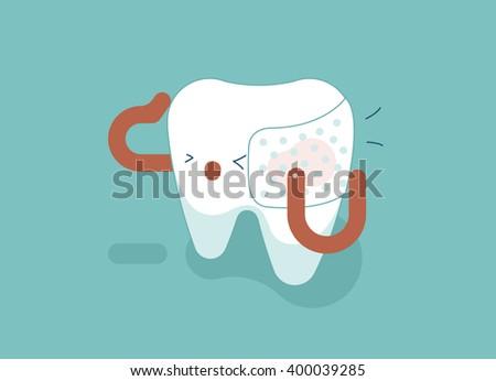 Toothache of dental concept - stock vector