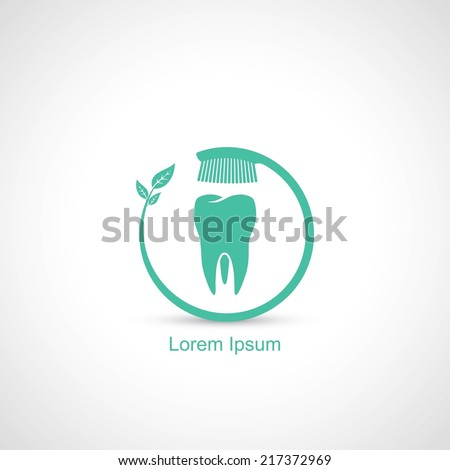 Toothbrush and tooth symbol - vector illustration - stock vector