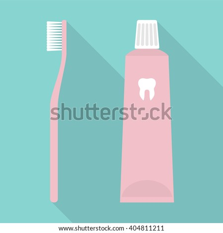 Toothbrush and Toothpaste. Flat Design Vector Illustration of a Toothbrush and a Toothpaste. - stock vector