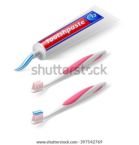 Toothbrush and Toothpaste in Isometric Style on White Background - stock vector