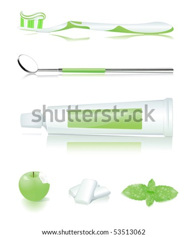 Toothbrush, toothpaste, apple, gum and mint - stock vector